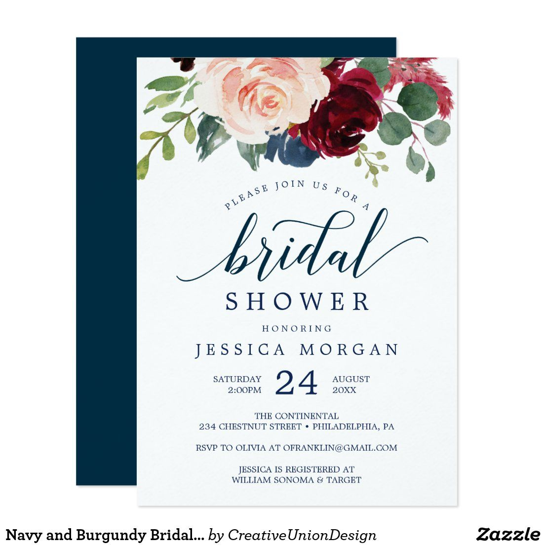 Navy and Burgundy Bridal Shower Invites in