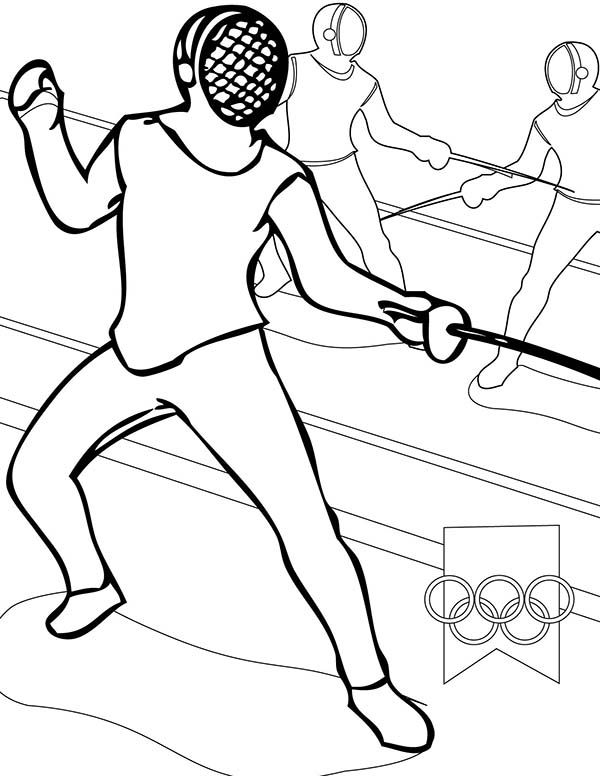 Olympic Games Olympic Games Fencing Coloring Page Olympic