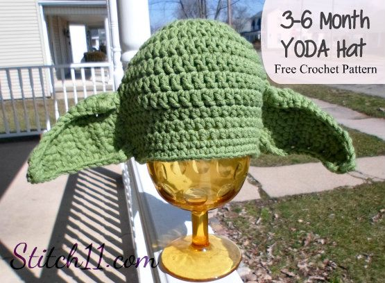 Baby Yoda Infant Inspired Handmade Crochet Hat Knit Beanie Star Wars 3-6 Months