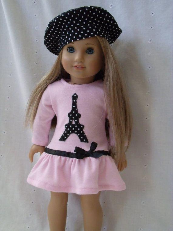 18 Inch Doll-American Girl drop waist ruffle dress: Eiffel Tower ...