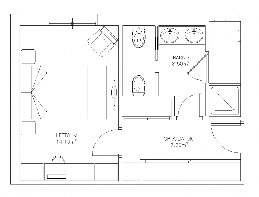 One Bhk House Structure Floor Plans Architecture Drawing How To Plan