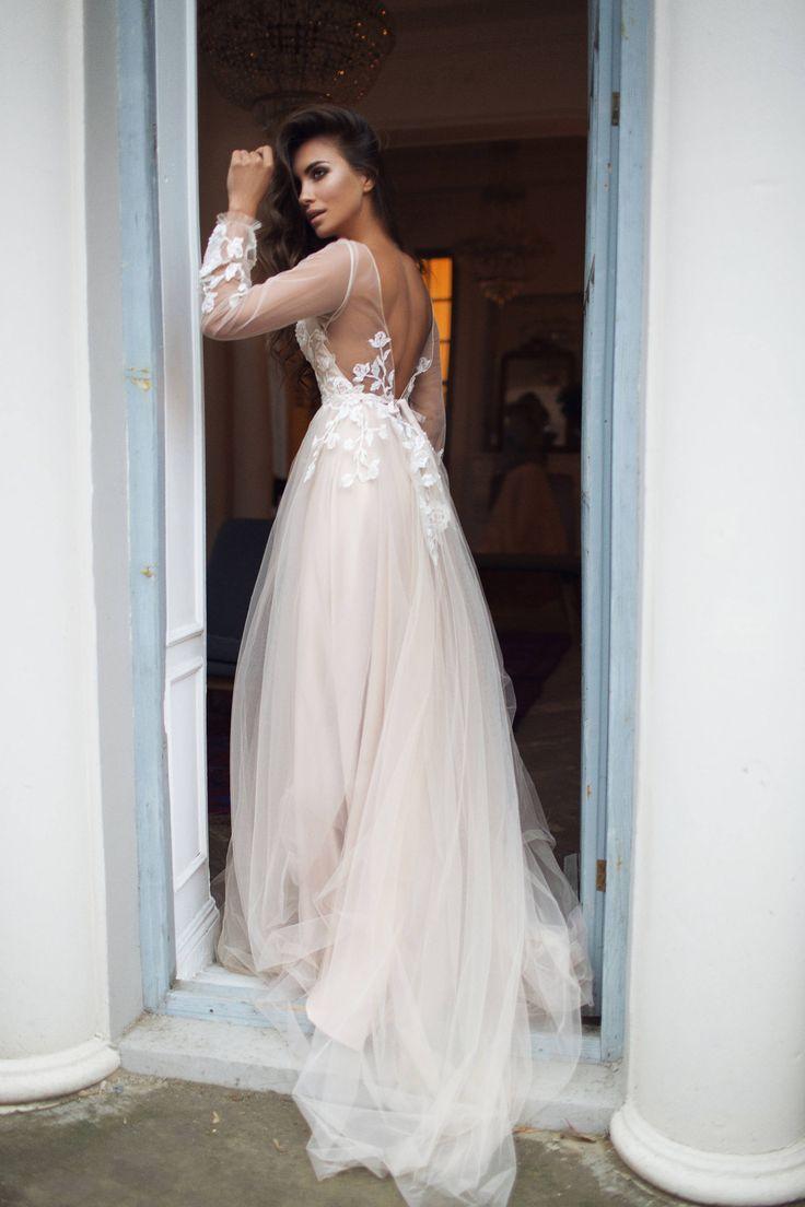 Long Sleeve Wedding Dresses V-neck Long Train Polka Dot