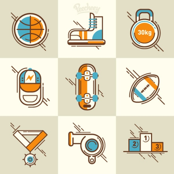 Retro sport icon set Free vector in Adobe Illustrator ai