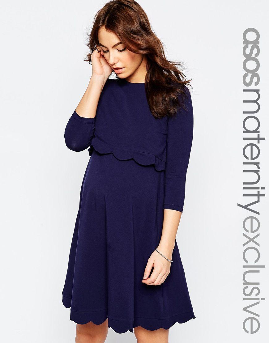 Image 1 of asos maternity nursing scallop dress its a baby 7daec1153fac7b2b550fcf7514e36b0cg ombrellifo Choice Image