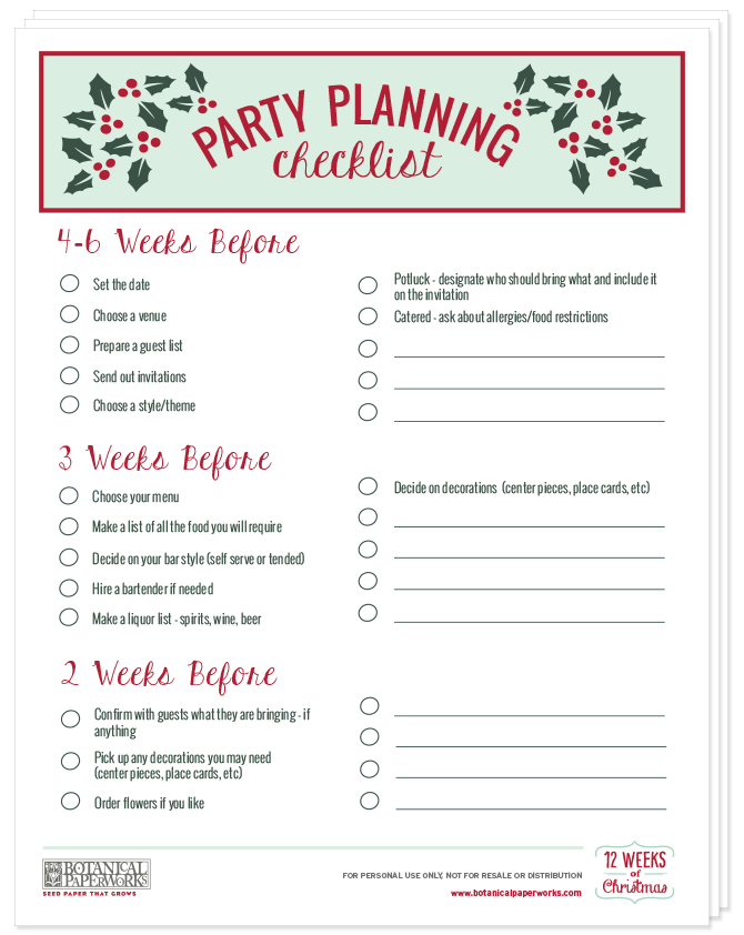 Christmas Party Planning.Free Printables Holiday Party Pack With Planning Checklist Home