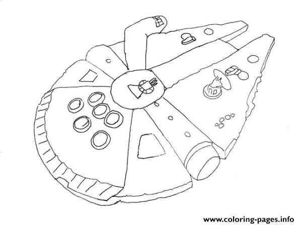 Print Simple Millenium Falcon Star Wars Ship Coloring Pages