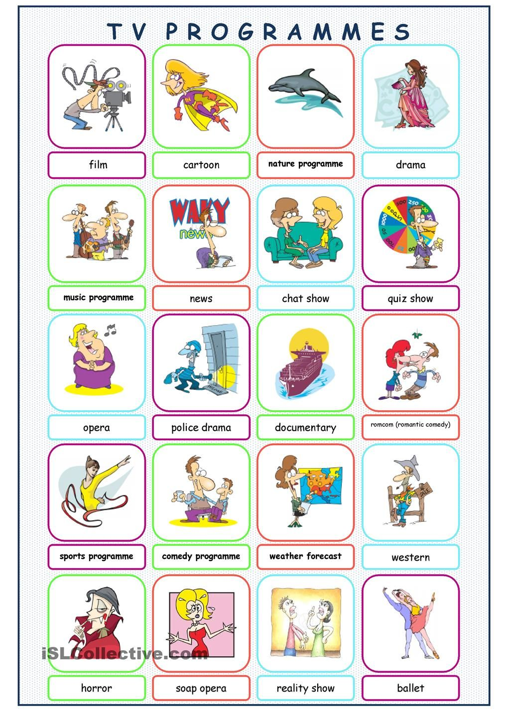 TV Programmes Picture Dictionary | classroom | Pinterest