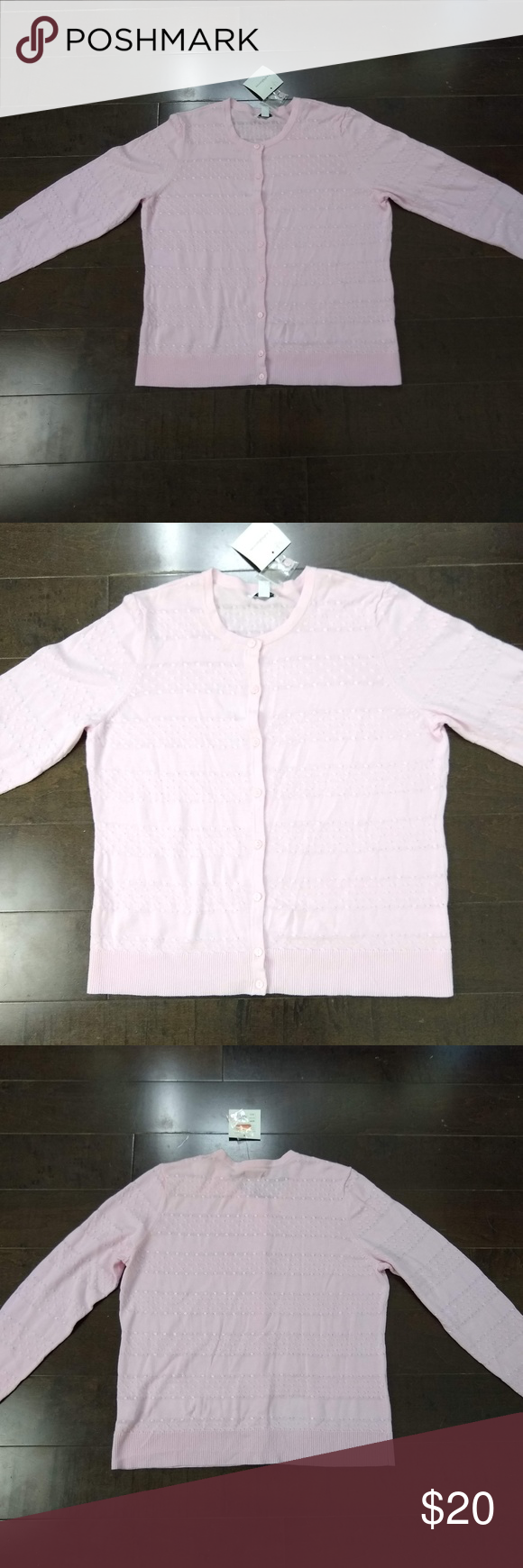Croft & Barrow Pink Pointelle Button Cardigan L Condition: New with flaws. Small stain by the neckline.   Button-down lightweight pointelle knit cardigan sweater in