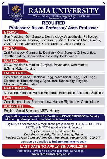 ** VACANCY FOR DENTAL FACULTY IN RAMA DENTAL COLLEGE