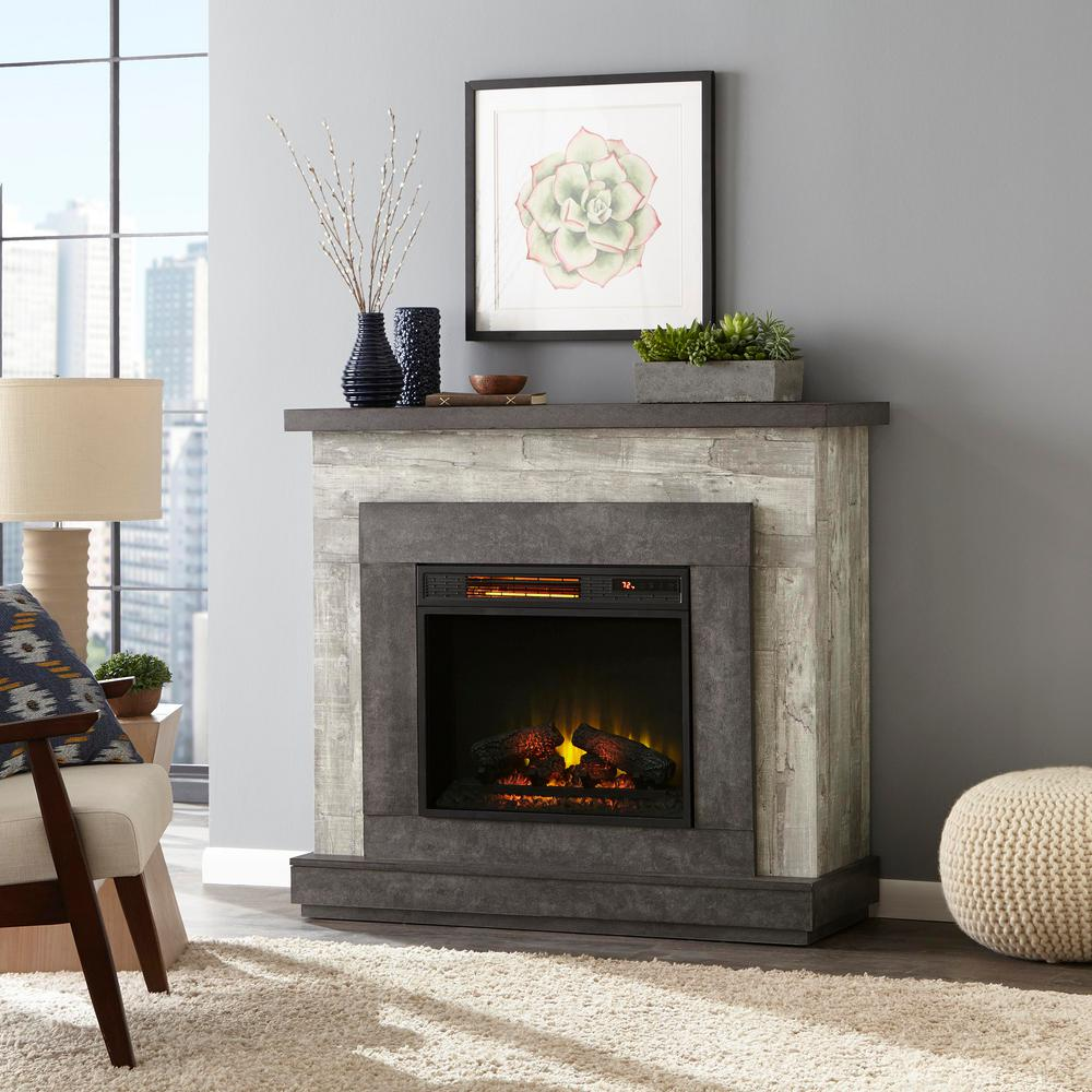 Home Decorators Collection Wildercliff 45 In Freestanding Wall Mantel Electric Fireplace In Driftwood 117956 The Home Depot Free Standing Wall Electric Fireplace Freestanding Fireplace