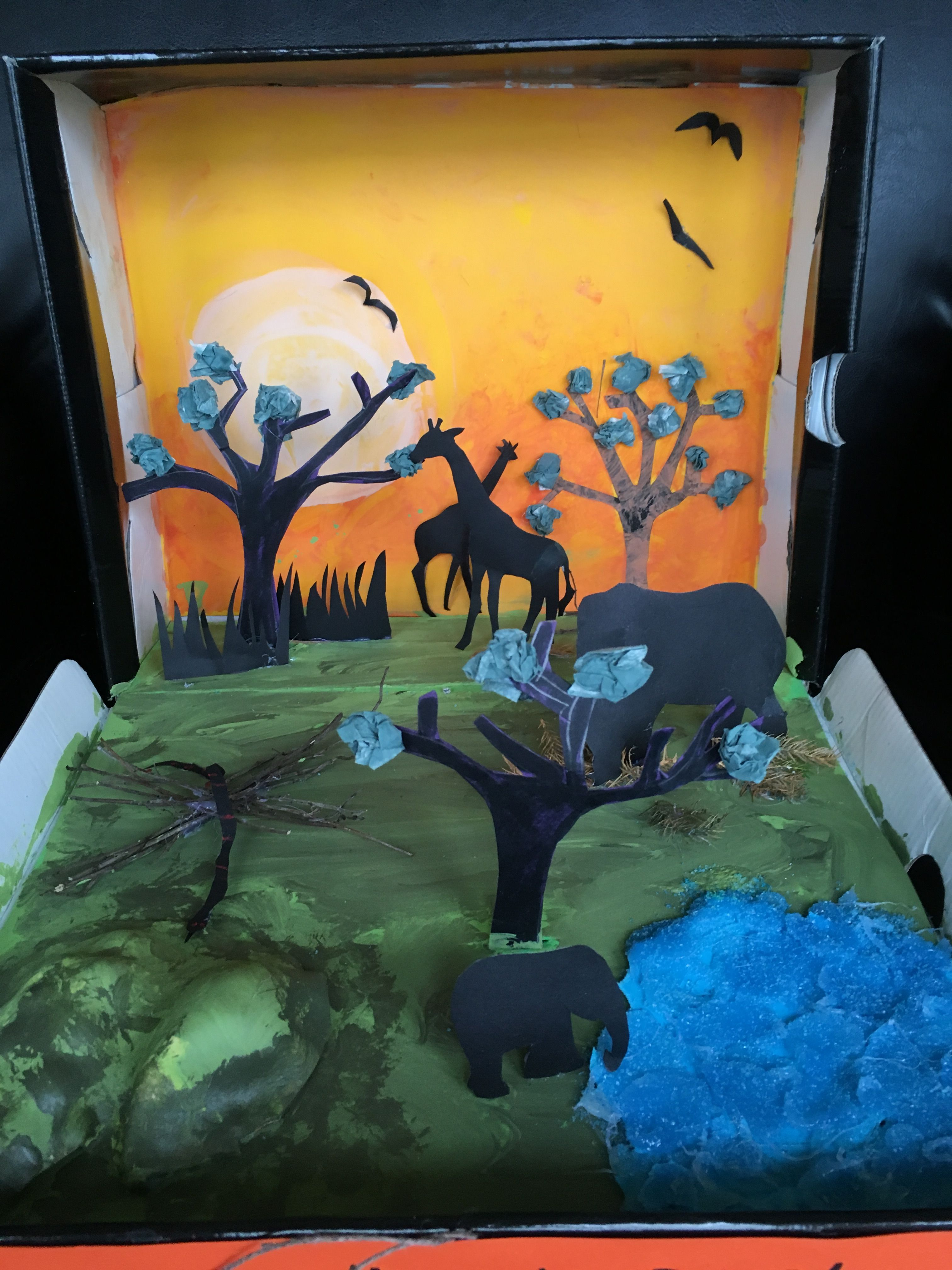 1st Grade Favorite Book Shoe Box Project African Savanna