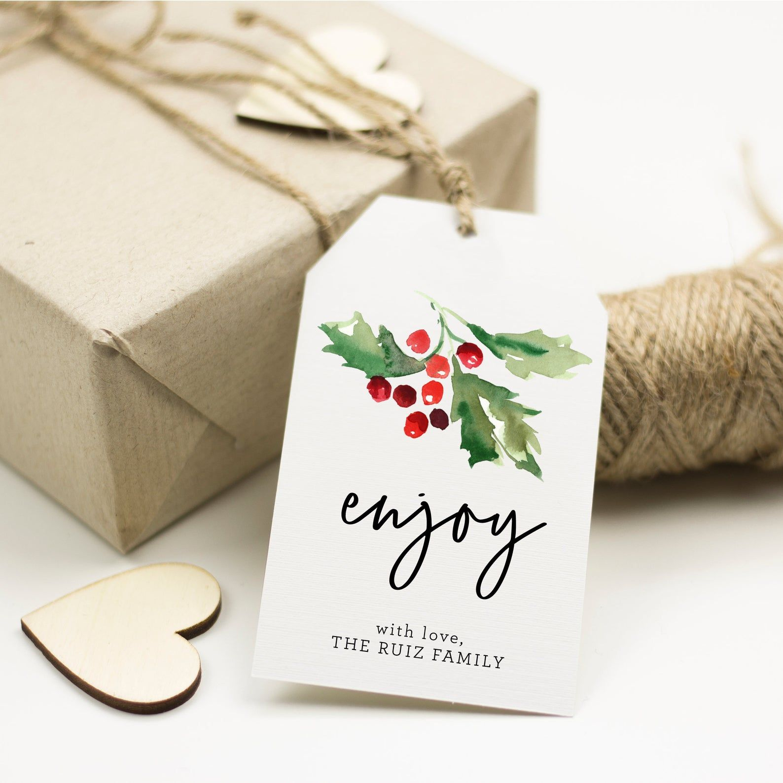 Christmas Holly Gift Tag Template, Watercolor Gift