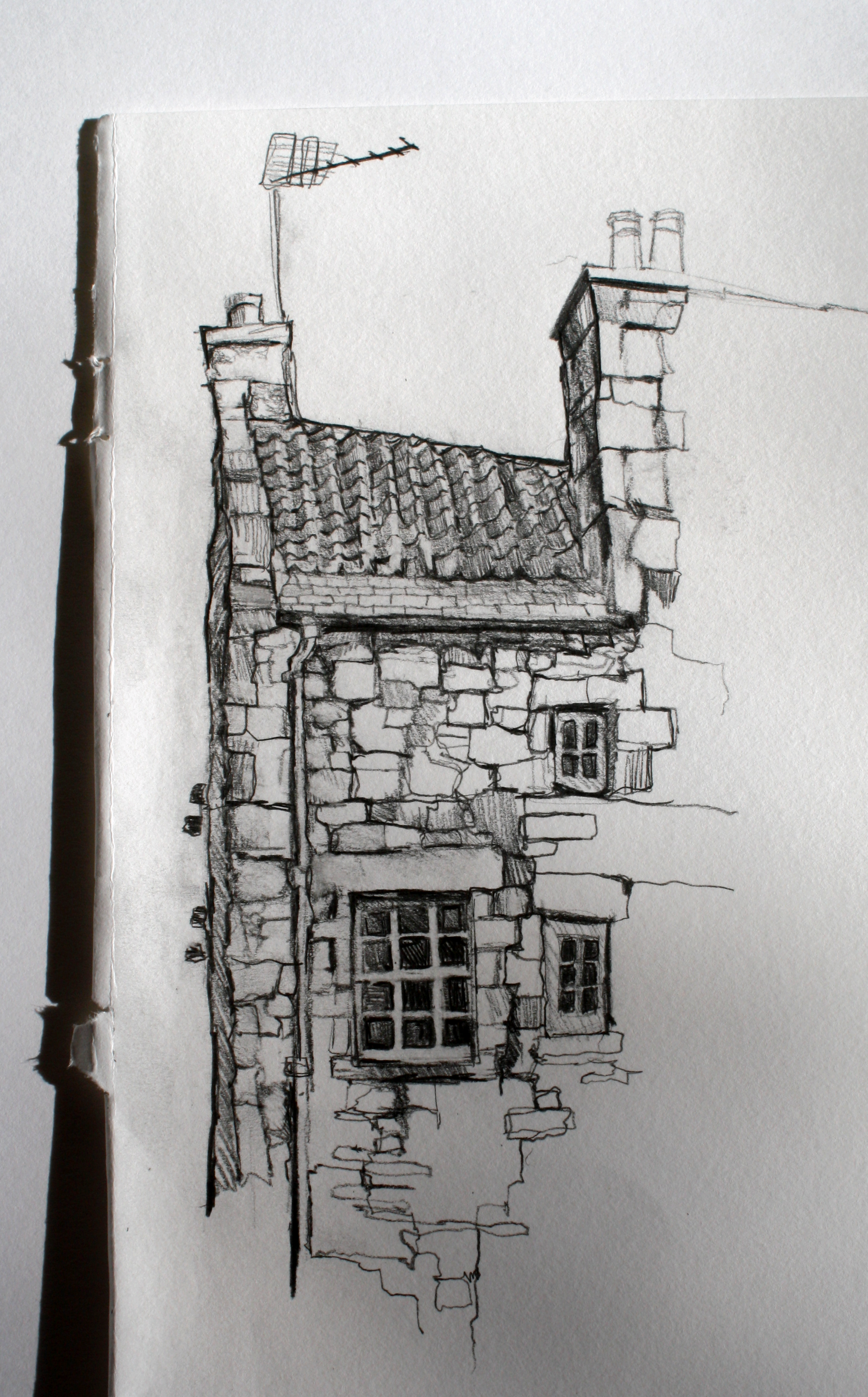 Sketch of building in dean village edinburgh by aileen mcgibbon pencil on paper