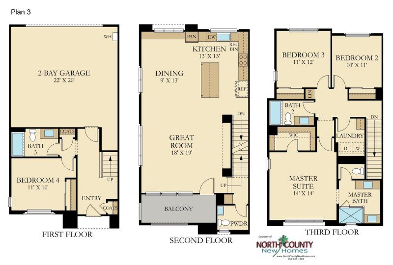 Avila New Townhomes In Vista North County New Homes Floor Plans New Homes House Floor Plans