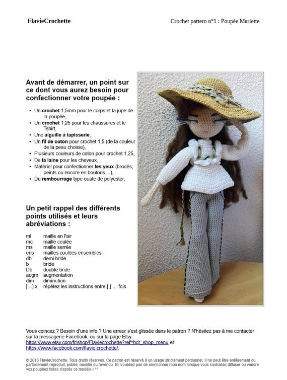 Mariette - Crochet dol pattern | Patrones de muñecas, Ganchillo y ...
