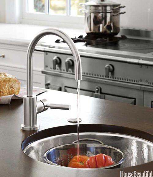 House Beautiful Kitchens Waterworks Normandy Prep Sink Dornbracht Tara Faucet Kitchen Islan Kitchen Prep Sink Kitchen Island With Sink Round Kitchen Sink