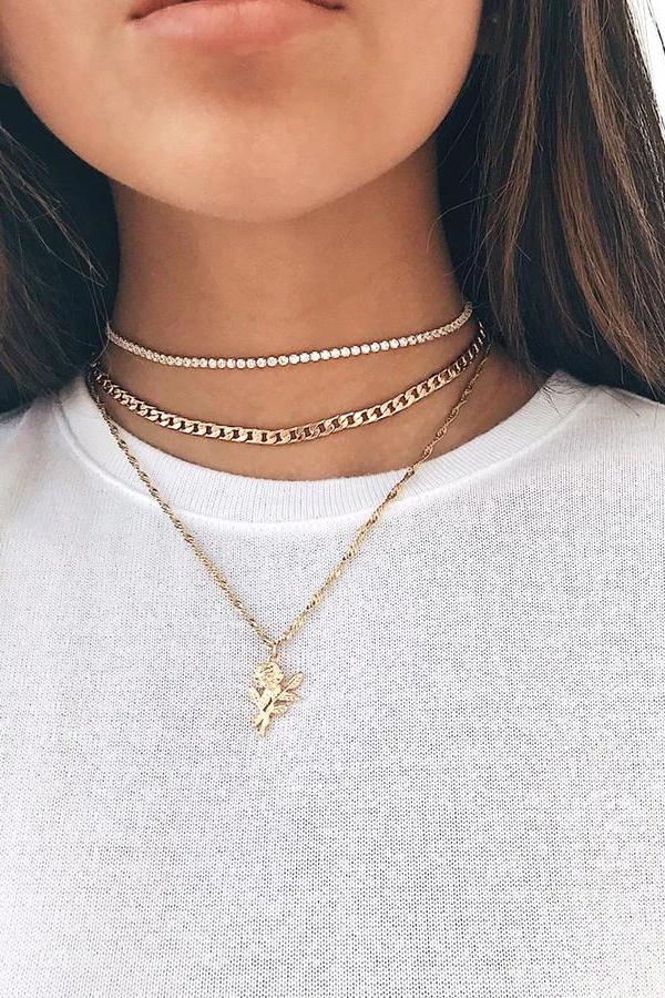 Fashion Women Crystal Multi-Layer Choker Collar Pendant Chain Necklaces Jewelry