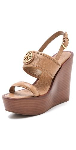 8ede93948 Tory Burch Selma Wedge Sandals Was    295.00 Now   206.50 FREE SHIPPING at  shopbop.com. Tory Burch wedge sandals with wrinkled leather straps and a  polished ...