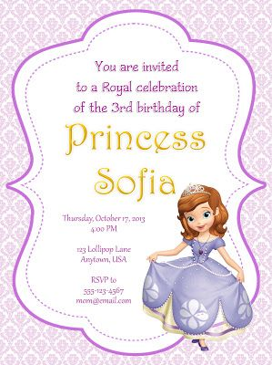 I Make I Share Sofia The First Party Invitations Princess Sofia Invitations Sofia The First Party First Birthday Invitations