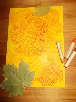 Bastelidee Für Kinder Reibebild Blätter Reiben Geschenkpapier