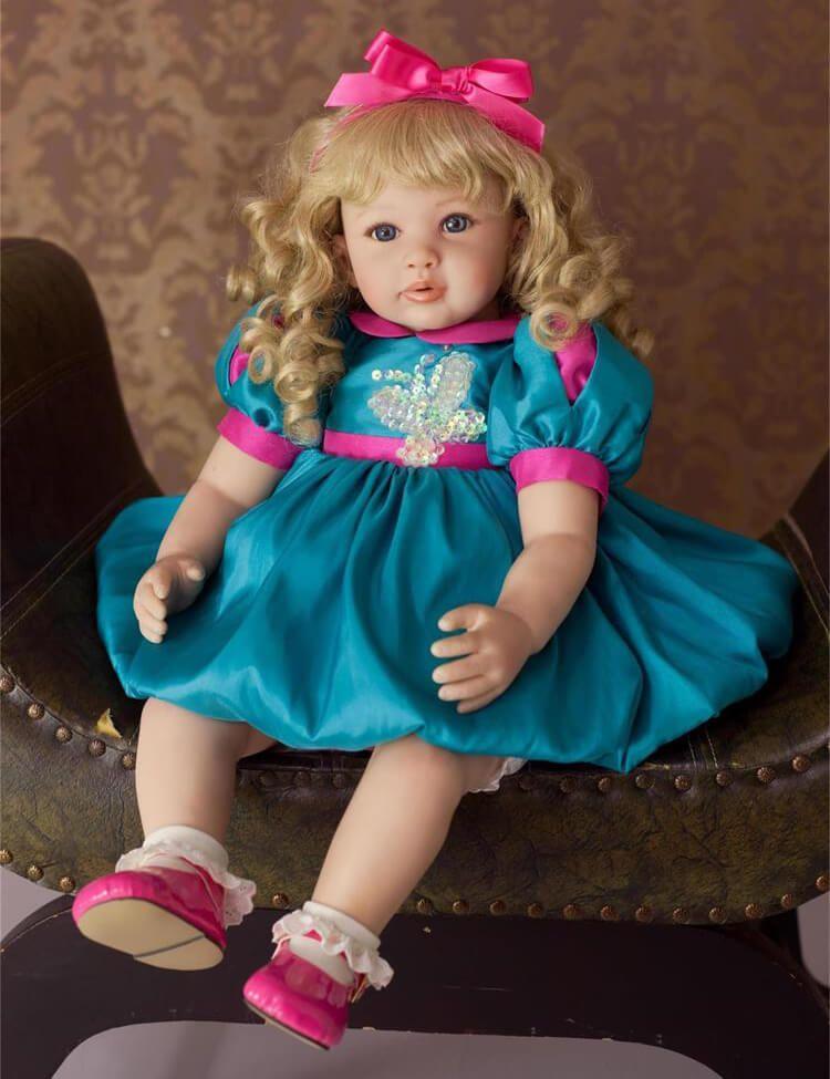 24/'/' Reborn Baby Dolls Lifelike Silicone Newborn Girl Golden Curly Xmas Gift US