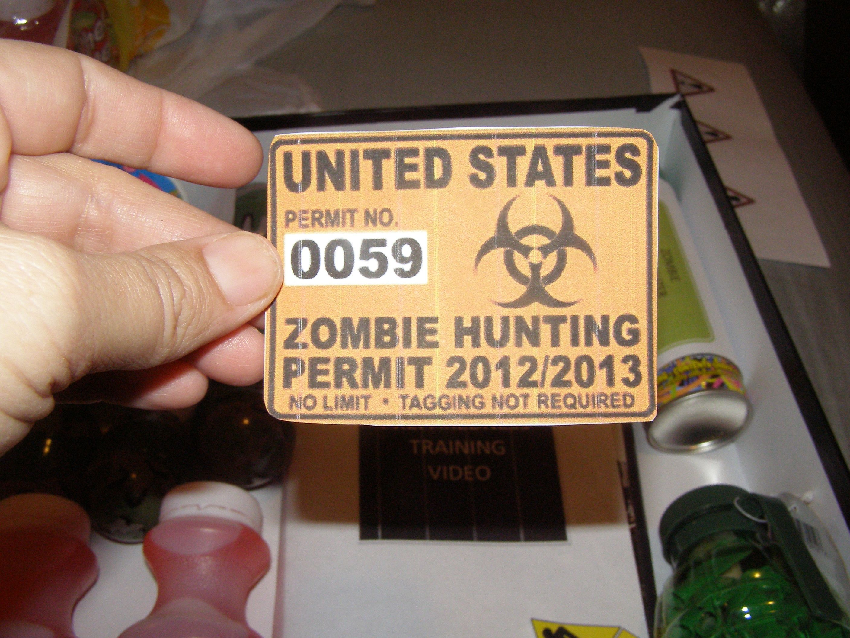 Zombie Hunting Permit - found image on internet and printed