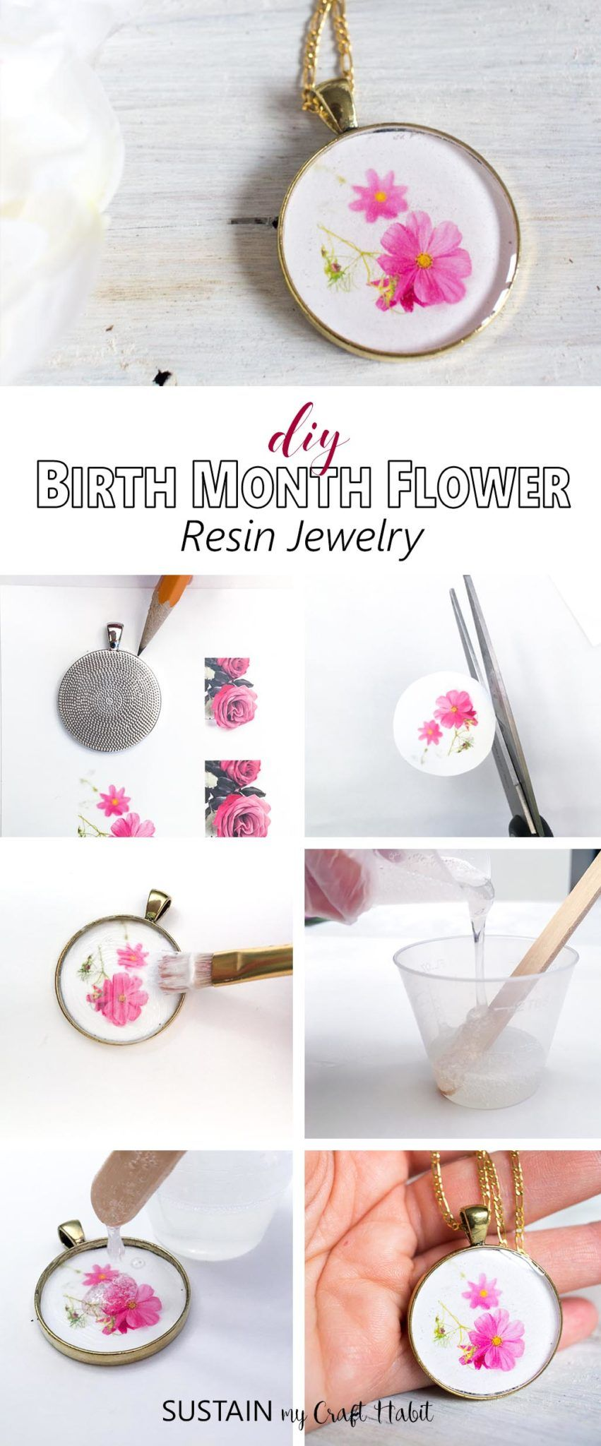 How to make resin jewelry diy birth month flower pendants