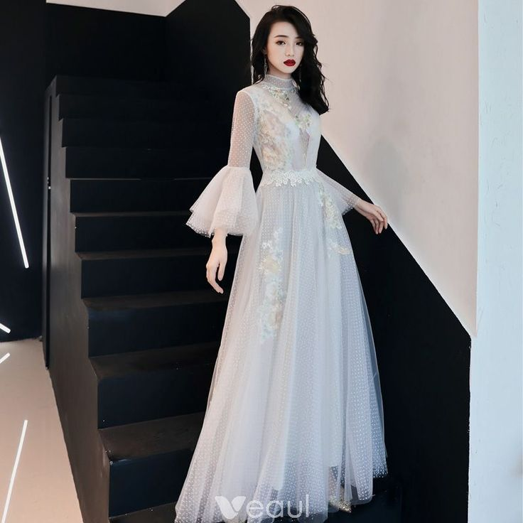 Illusion Ivory See-through Evening Dresses 2019 A-Line / Princess High Neck Bell Illusion Ivory See-through Evening Dresses 2019 A-Line / Princess High Neck Bell... -