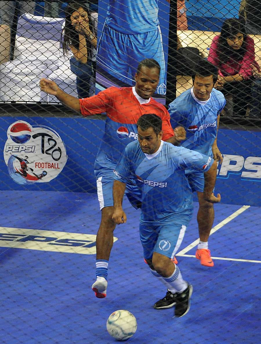 MS Dhoni, Didier Drogba and Baichung Bhutia in a game of