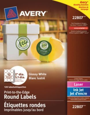 Avery® White Laser/Inkjet Glossy Print-to-the-Edge Round Labels