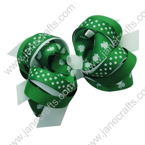 hair bows for st patricks day,layered loopy hair bow for girls st patricks day
