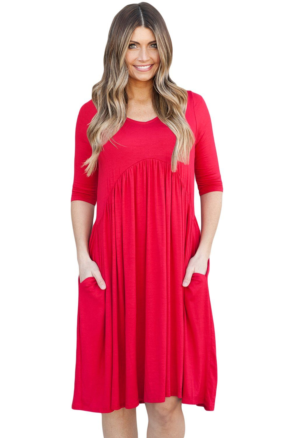 Sexy red sleeve draped swing dress products