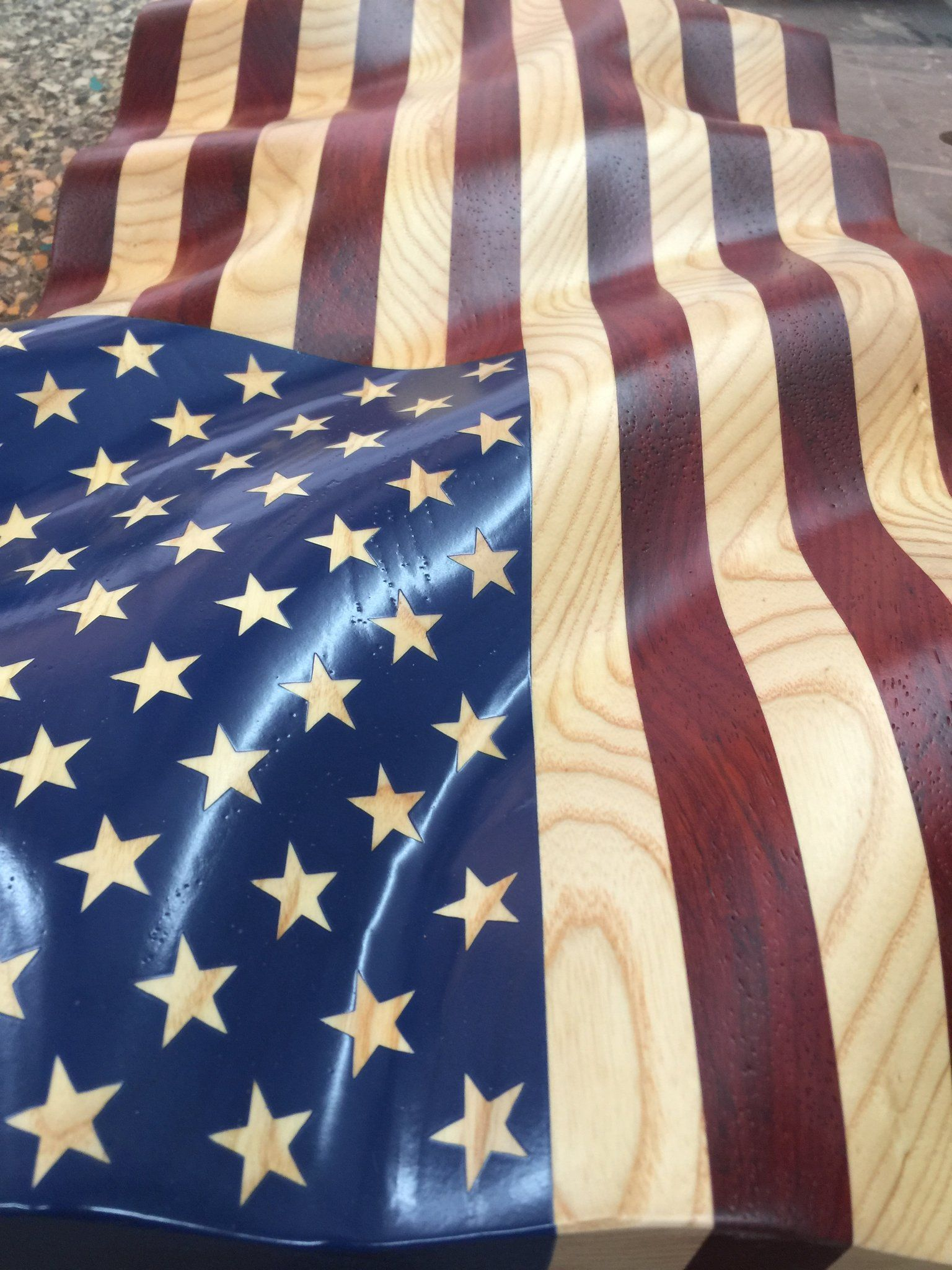 Unframed Old Glory Quot Waves Of Grain Quot American Flag Carved