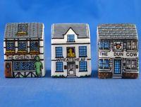 Village Inns Miniature House Shape Set of Three Birchcroft Thimbles