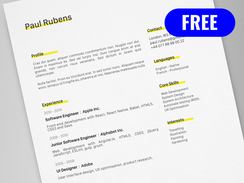 Paul Rubens Free Creative Resume Cv Template Ai Cv Resume Template Creative Resume Creative Resume Templates