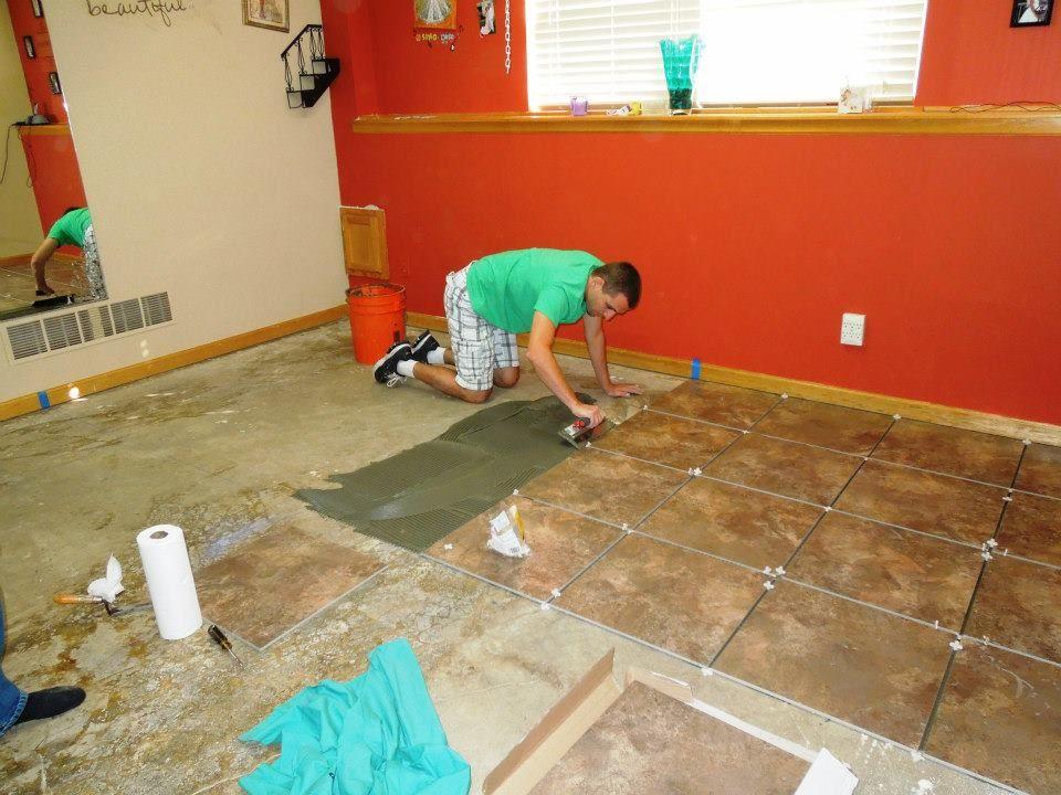working hard Tile floor, Flooring, Sewing room