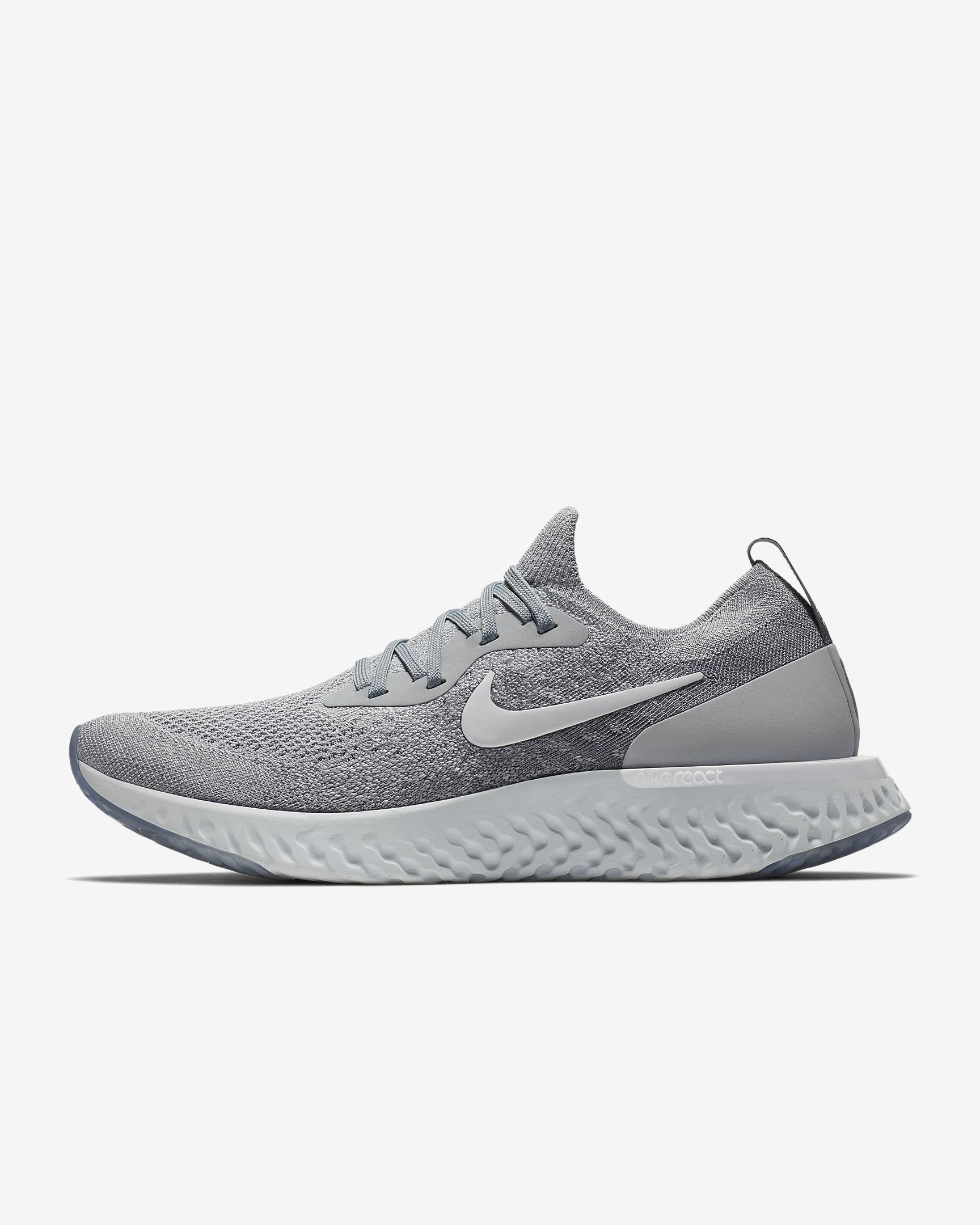 timeless design 99972 fdb55 Cheapest And Latest Authentic Unisex Couple Nike Epic React Flyknit Mens  Running Shoe Wolf Grey Cool Grey Pure Platinum White AQ0067-002