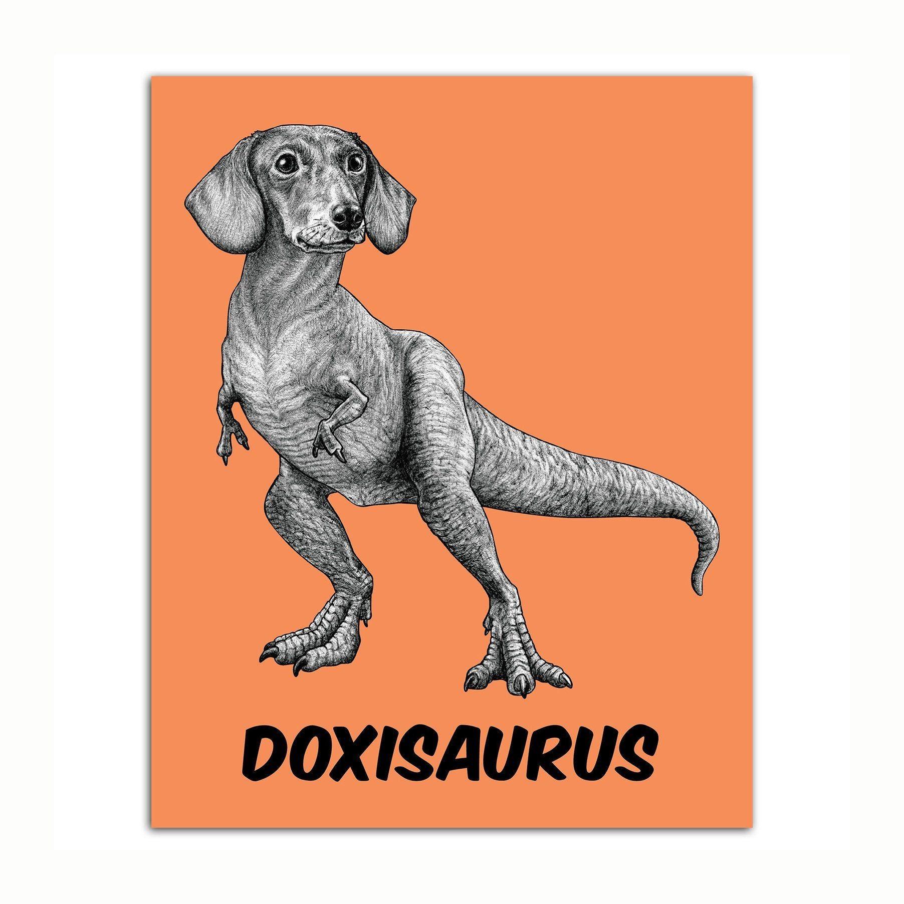 Doxisaurus 8x10 Art Print Dachshund + TRex Hybrid Animal