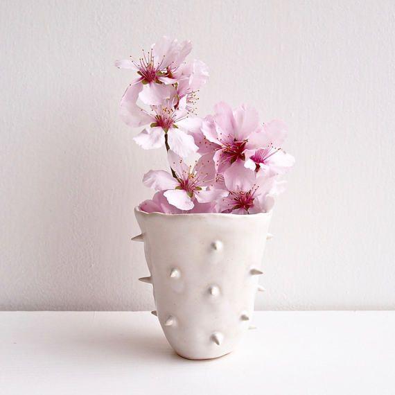 Handmade white spiky ceramic vase white pottery vase spiky ceramic handmade white spiky ceramic vase white pottery vase spiky ceramic flower vase white vase white pottery vase pottery and ceramics vase mightylinksfo