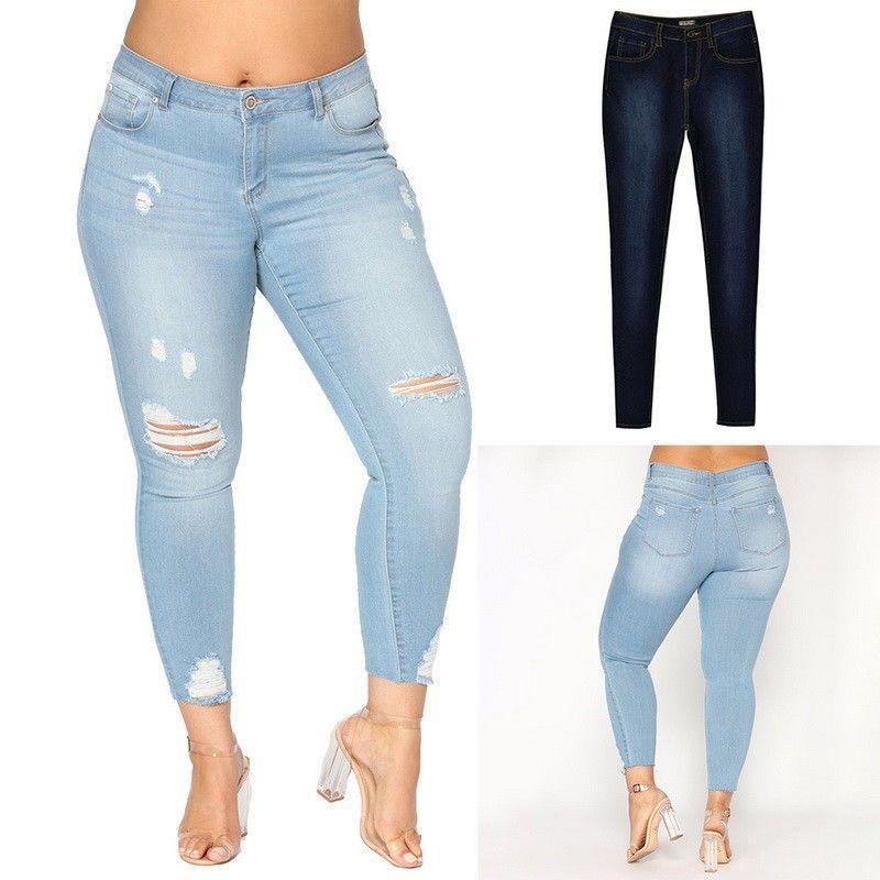 9fd4d8019d0 $10.44 - Women Plus Size Mid-Waist Ripped Pencil Denim Jeans Stretch Pants  Slim Trousers #ebay #Fashion