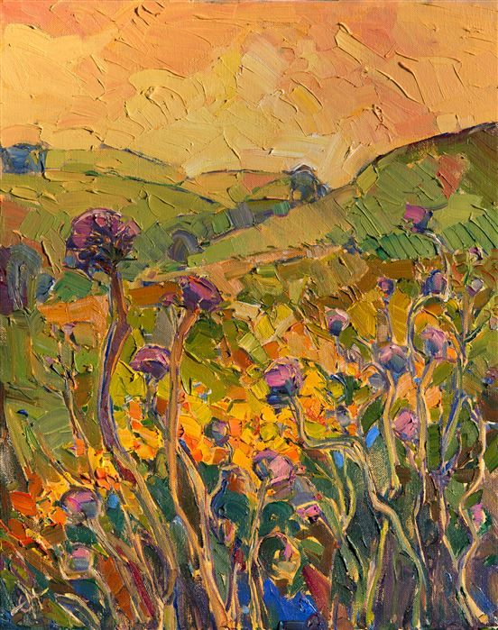 Thistle Summer, original oil painting for sale by Los Angeles artist Erin Hanson