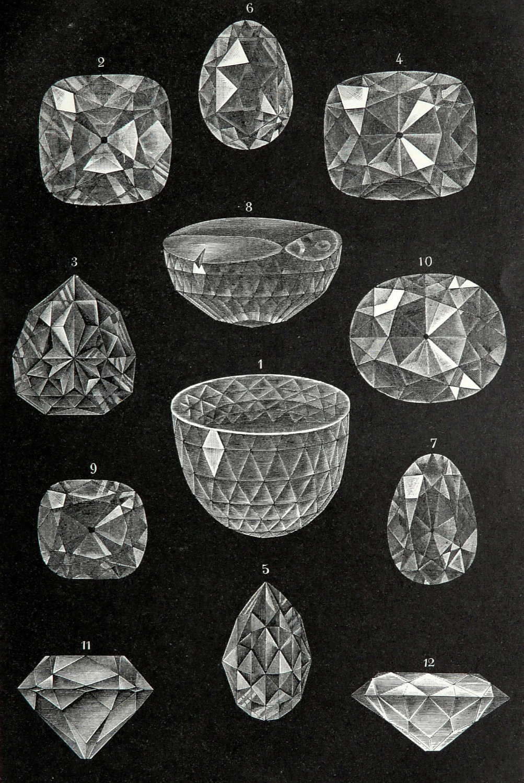 1894 Antique print of GREAT DIAMONDS.