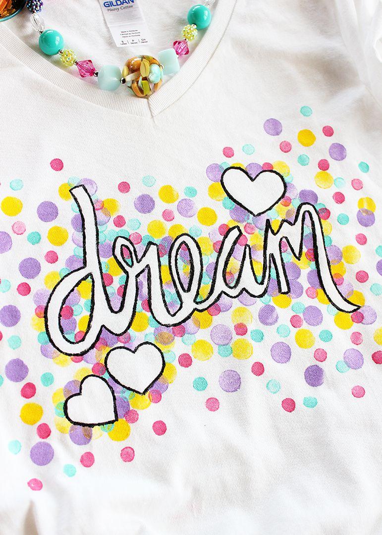 22a8f581 Confetti Freezer Paper Shirt | crafts | Diy kids shirts, Diy shirt ...