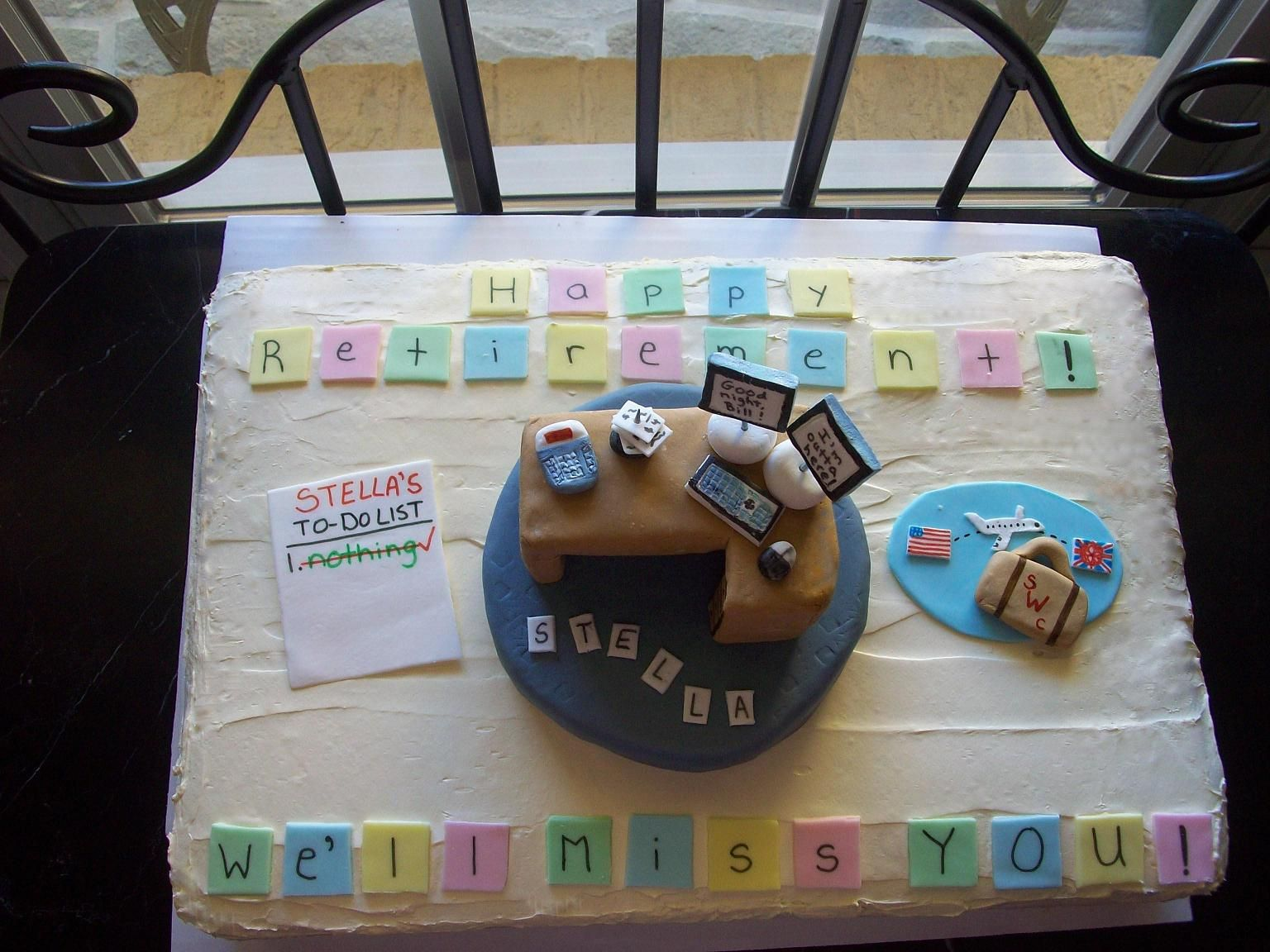 gp office retirement cake fondant to do list desk computer gp office retirement cake fondant to do list desk computer monitor calculator