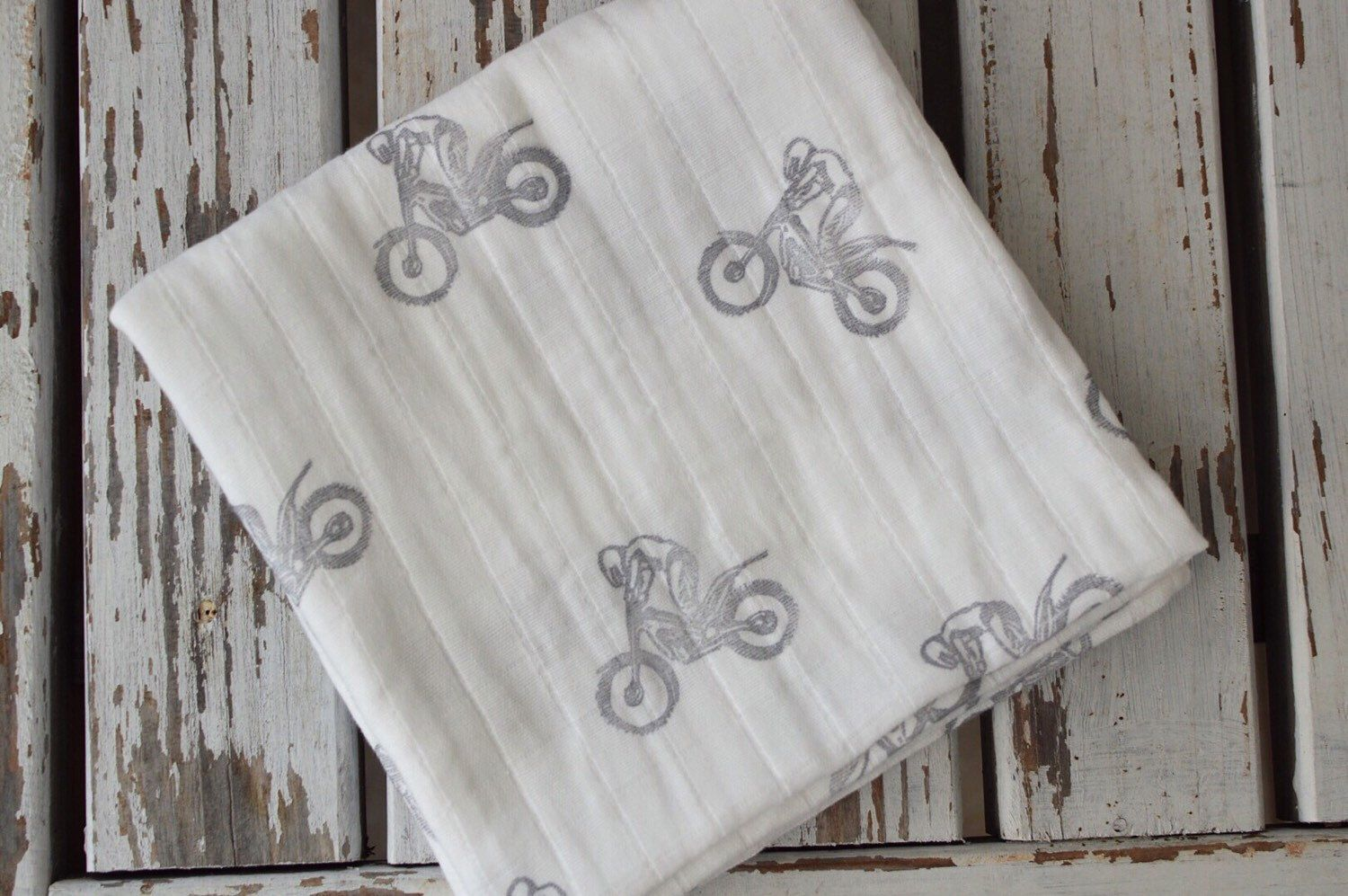 Muslin Swaddle Baby Blanket Hand Stamped Motocross Dirt
