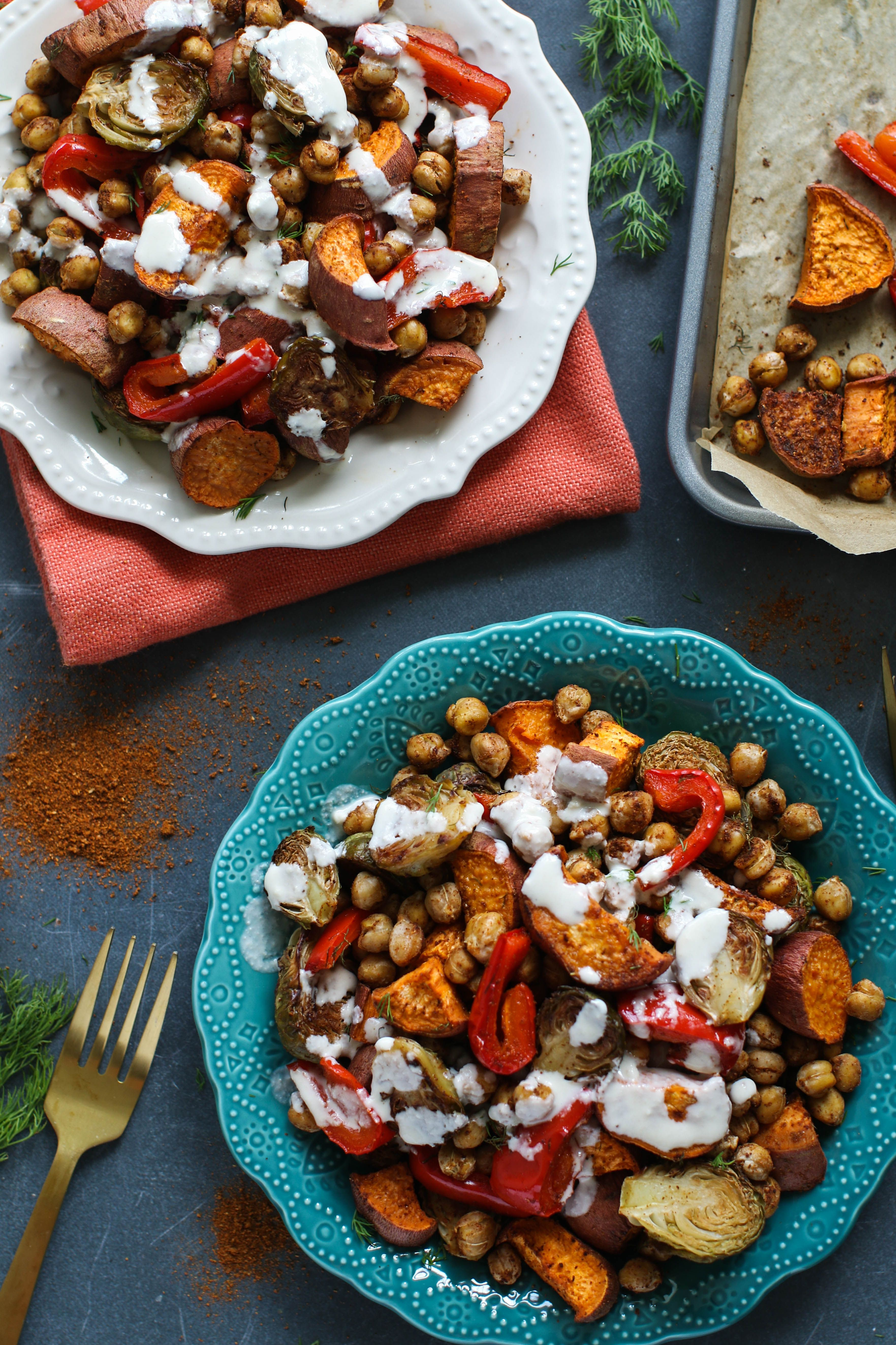Roasted Sweet Potatoes Brussel Sprouts Chickpeas My Favorite Tray Dinner