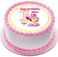 BABY MICKEY MOUSE 1st Birthday Edible Cake or Cupcake Topper