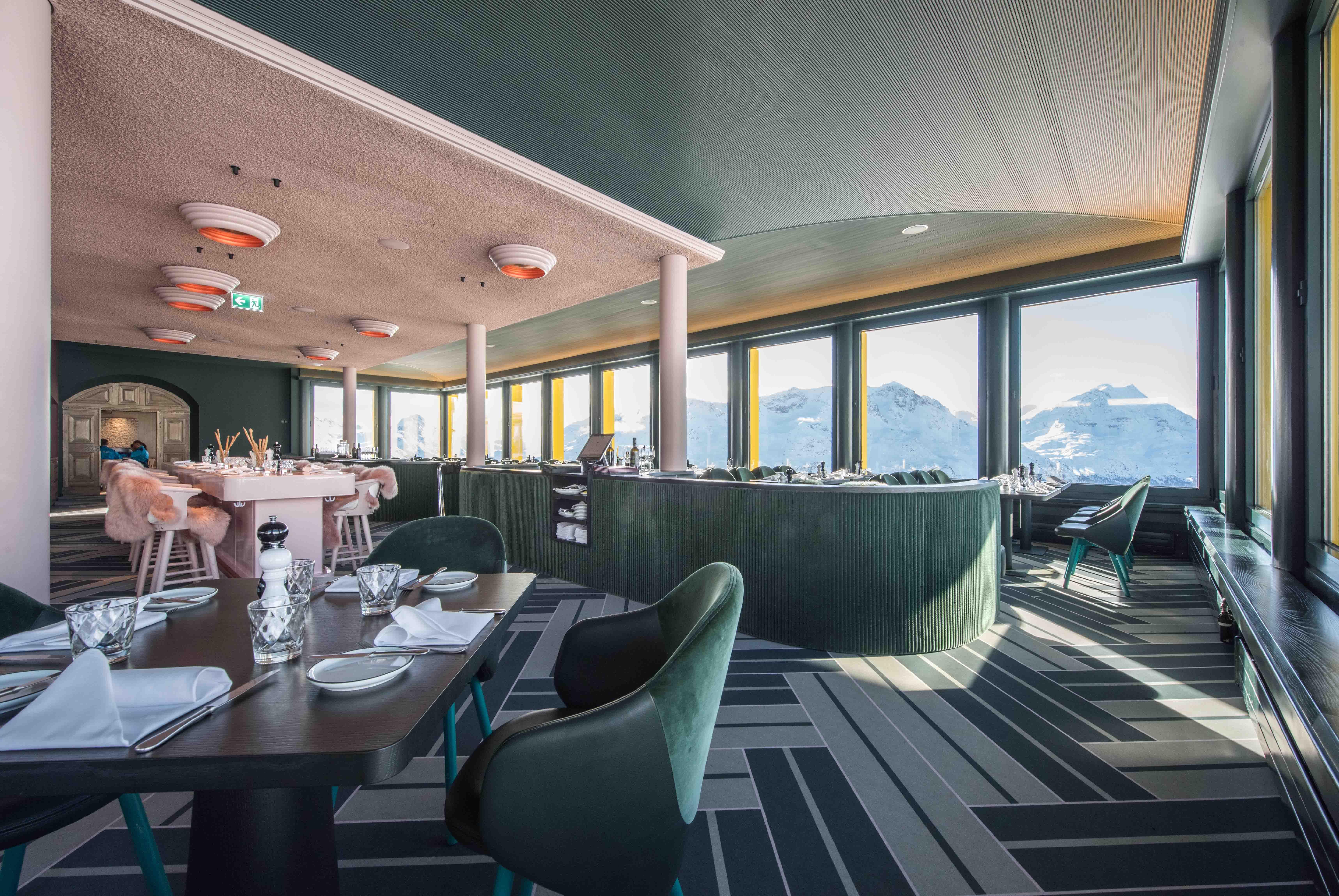 White Marmot Restaurant St Moritz Switzerland Resort Interior