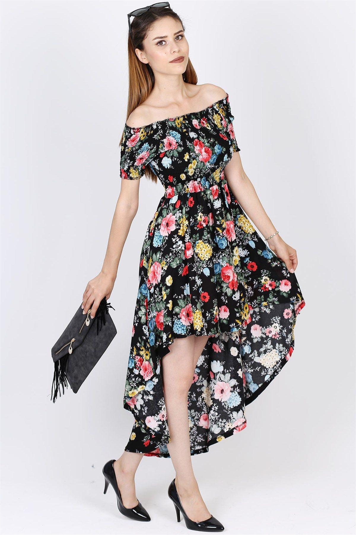 Onu Kisa Arkasi Uzun Cicek Desenli Elbise 2054b Kisa Elbise Elbise The Dress