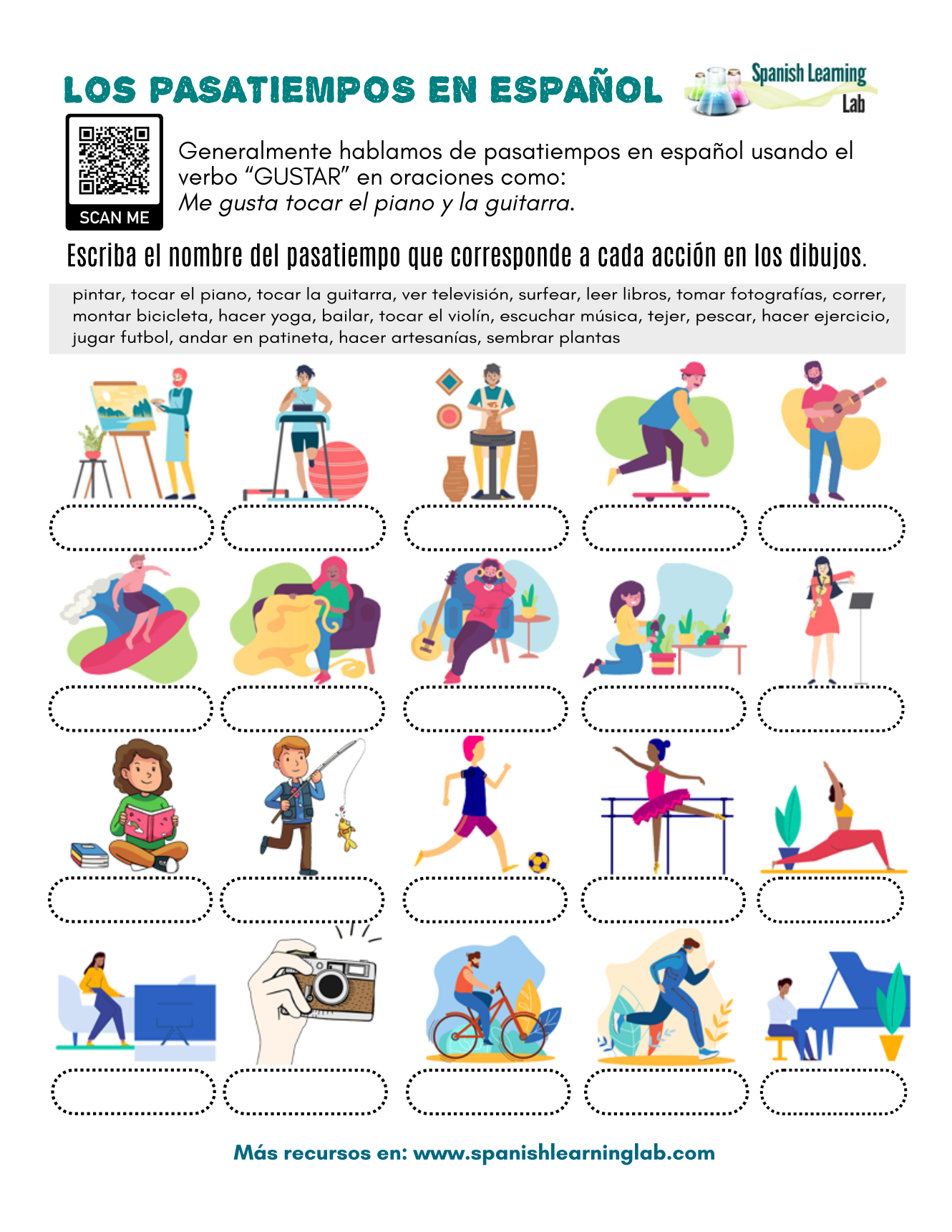 This Worksheet Was Designed To Help You Practice Part Of The Vocabulary For Hobbies In Spanish By Solving The Spanish Lessons For Kids Spanish Spanish Lessons [ 1721 x 1330 Pixel ]